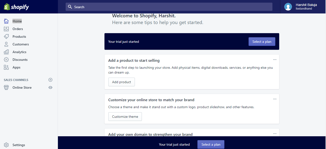 Shopify trial code