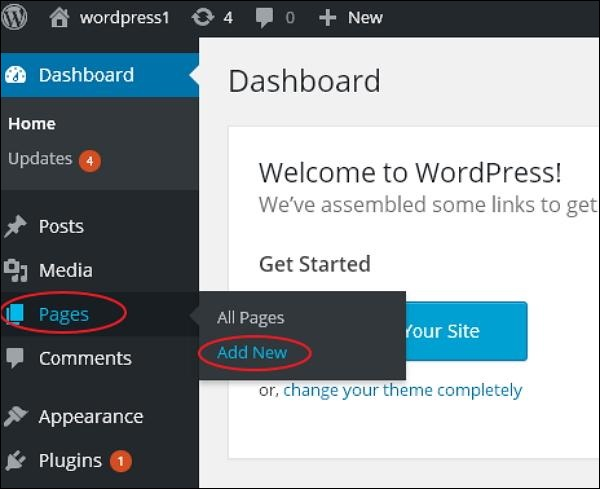 Add pages - WordPress Blog Setup