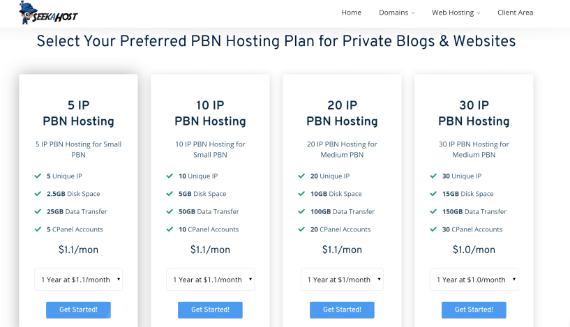Seekahost PBN hosting pricing plans