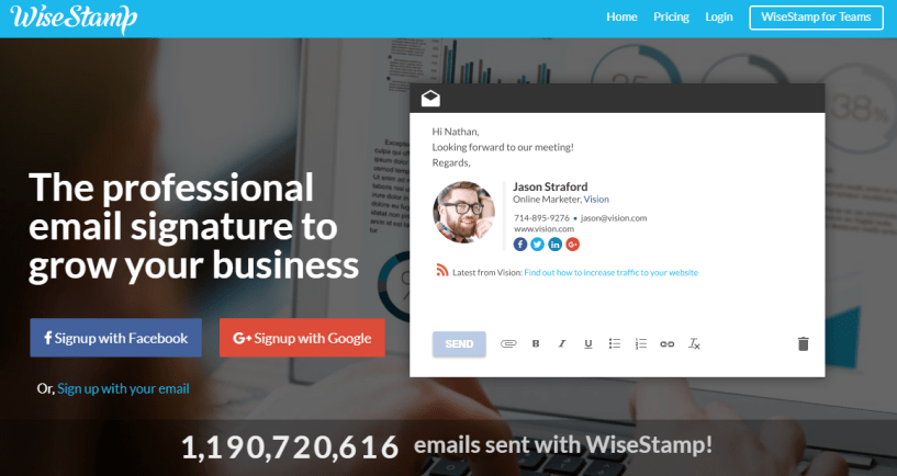 WiseStamp Review: Awesome Professional Email Signature Templates