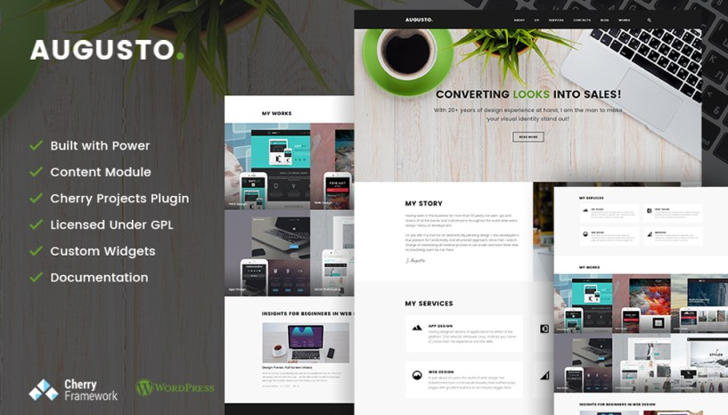 Prove Your Competency with Augusto – Freelance Designer & Web Design WordPress Theme