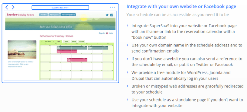 SuperSaas Review- Integrate Facebook Pages