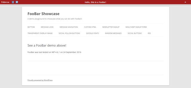 FooBar WordPress Notification Bar Plugin