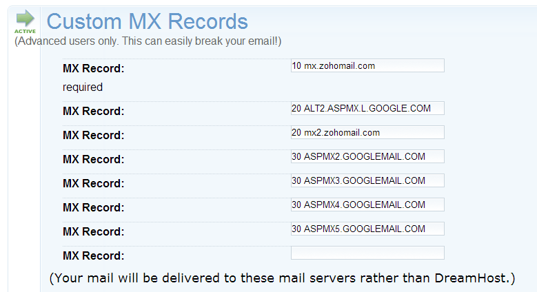 update mx records - create business email