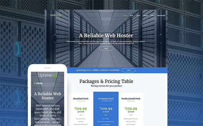Uptime99 - Web Hosting WordPress Theme