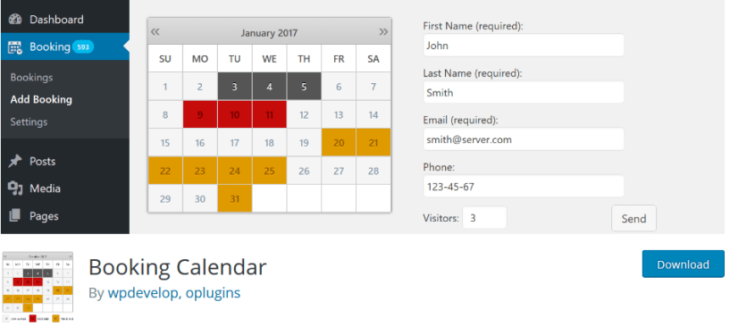 Booking Calander- Build a Travel Business Website