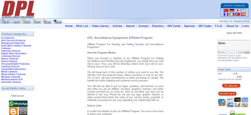 DPL Surveillance Equipment Affiliate Program