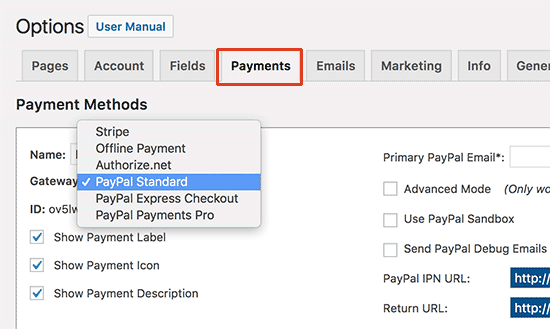 Payment Method Setting Dashboard