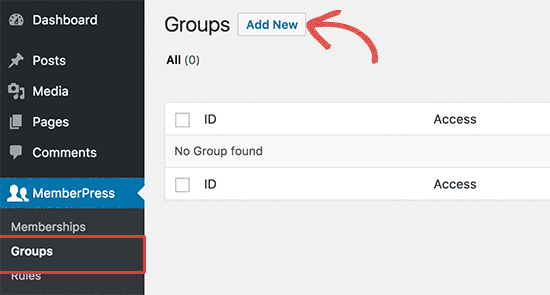 Create Groups - Create Membership Site