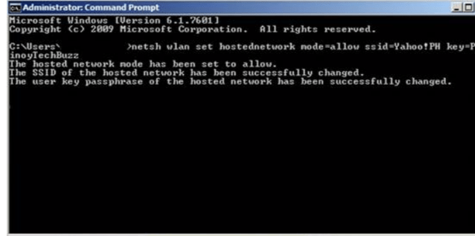SSID and Password- Create a Wi-Fi Hotspot using Command Prompt
