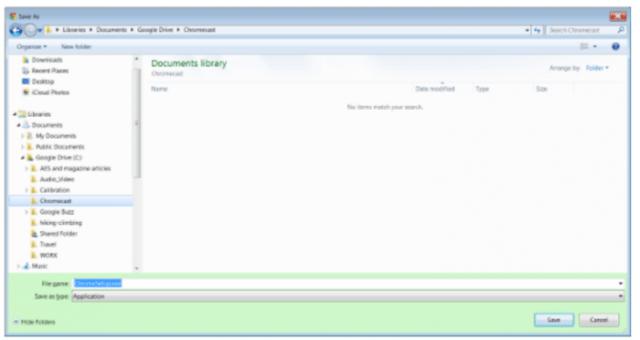 Choose the download location- set up Chromecast on Windows 7