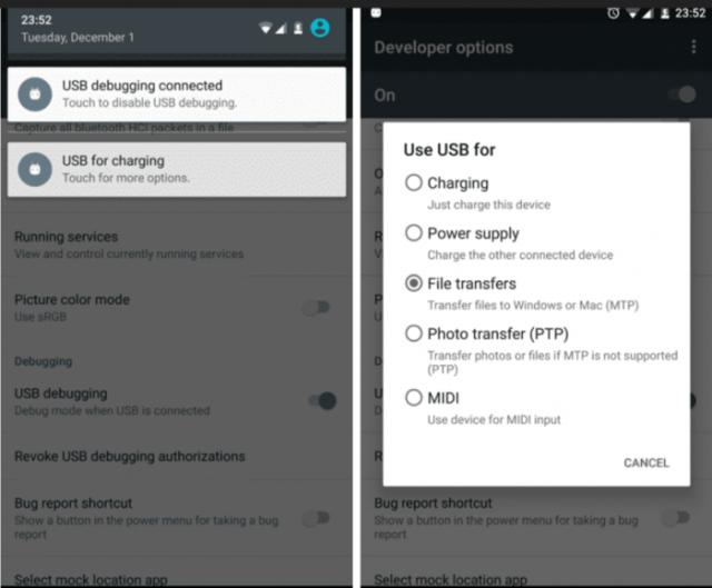 Use Debug Mode- Android File Transfer