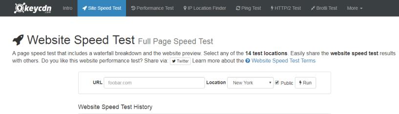 KeyCDN- Website Speed Test