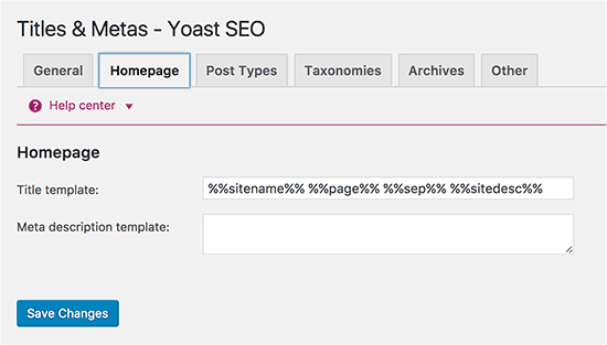 Yoast SEO Plugin- Homepage_Title & Metas