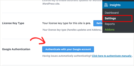 Google Analytics- MonsterInsights Authentication