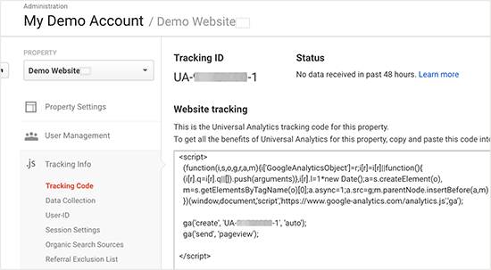 Google Analytics- Tracking Code