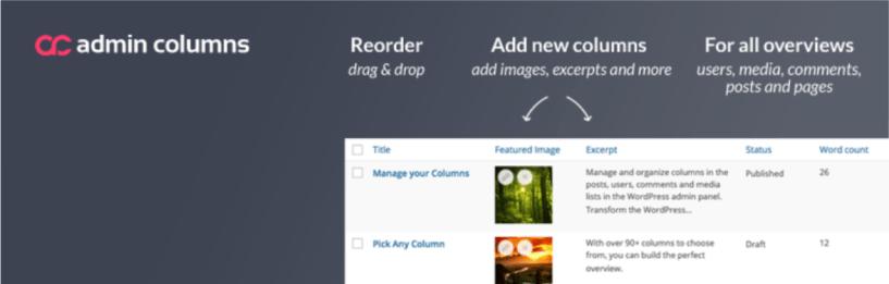Admin Columns — WordPress Admin Dashboard Plugins