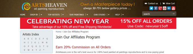 ArtsHeaven- Art Affiliate Programs