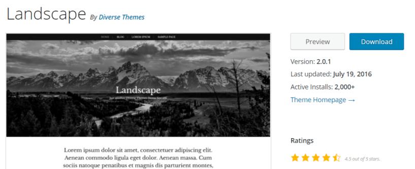 Landscape — Photgraphy WordPress Themes