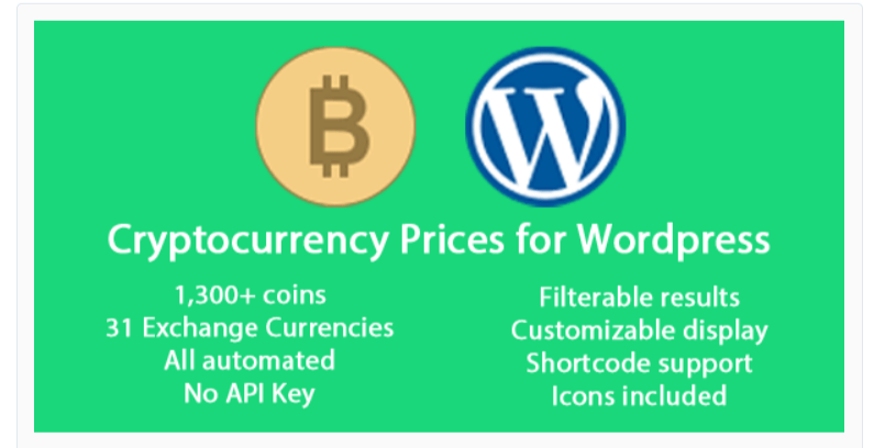 Cryptocurrency Prices -Cryptocurrency WordPress Plugins