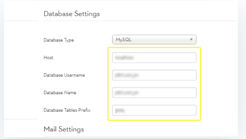 Database Settings- Migrate Joomla to WordPress