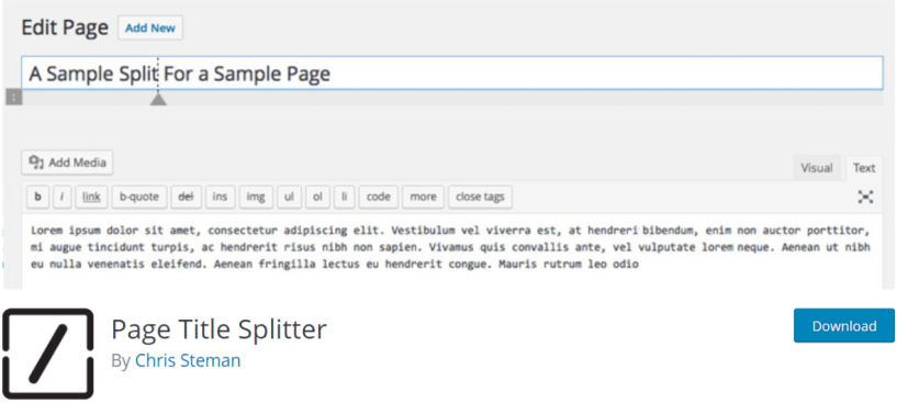 Page Title Splitter — Typography WordPress Plugins
