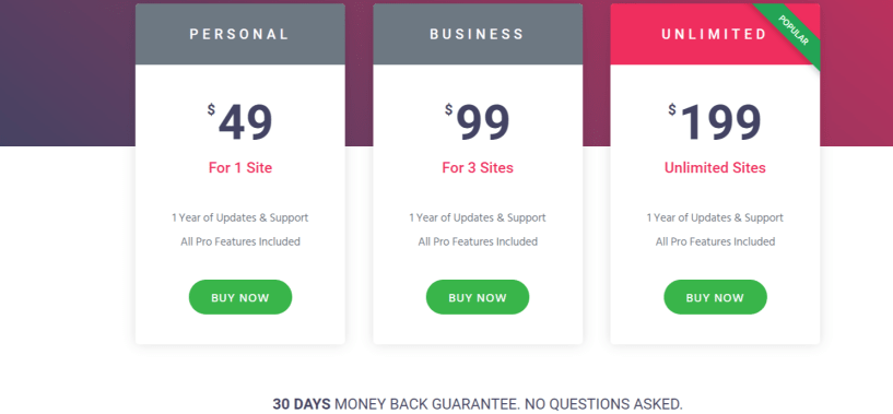 Elementor Pricing- Elementor vs Divi