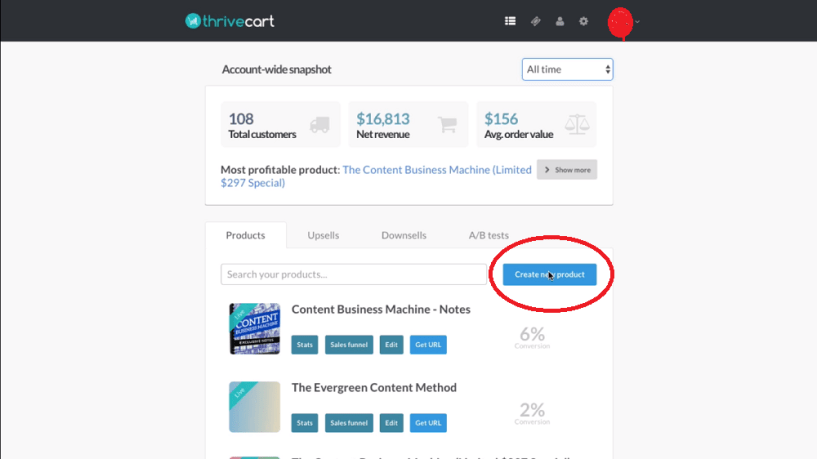 Thrivecart dashboard