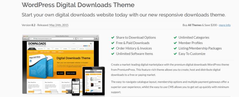 WordPress Digital Downloads Theme - PremiumPress Review