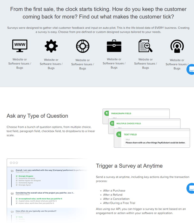 survey creation in paykick start