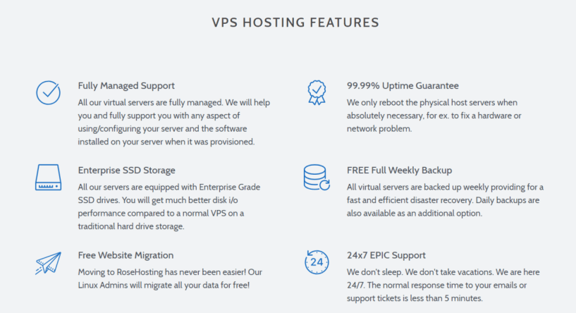 RoseHosting Review With Coupon Codes - VPS Hosting Features