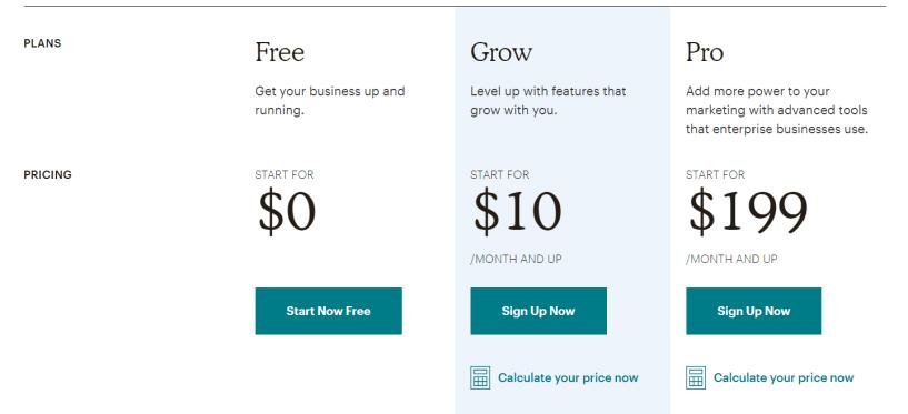 Saleshandy Vs Mailchimp VS Getresponse - MailChimp Pricing