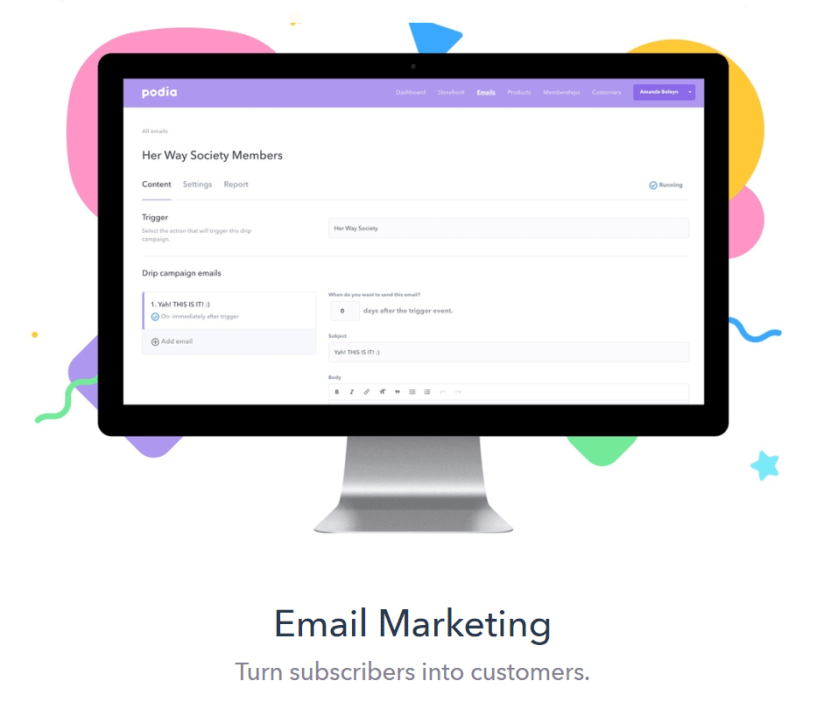 Podia Review- Email Marketing