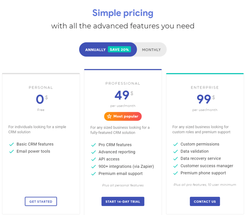 Streak CRM Review With Discount Codes- Pricing Plans