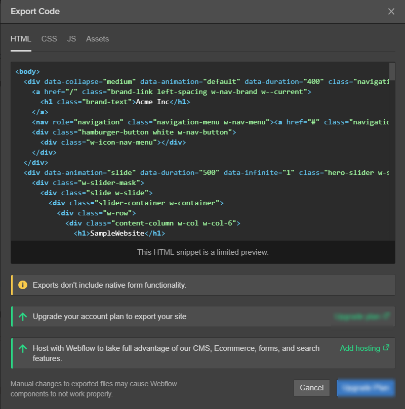 Webflow Exporting Codes HTML_CSS
