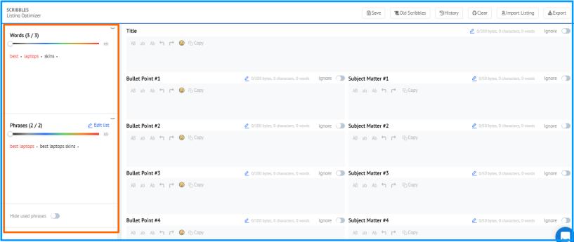 Scribbles- Keyword List Optimization