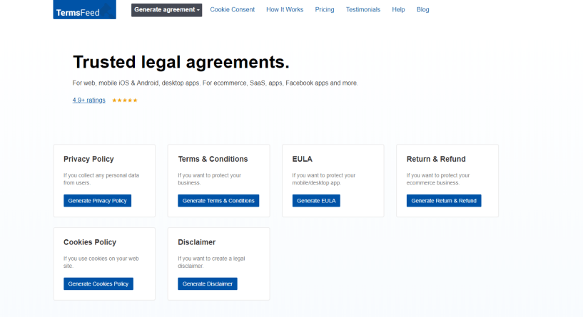 TermsFeed Review- Generator of Legal Agreements