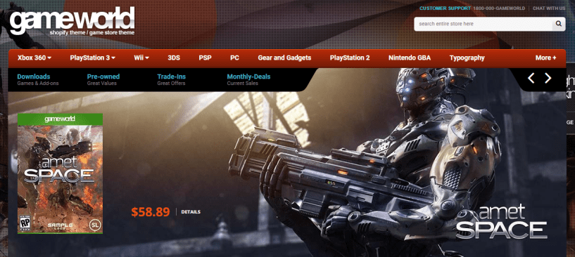 Best Shopify Theme- GameWorld