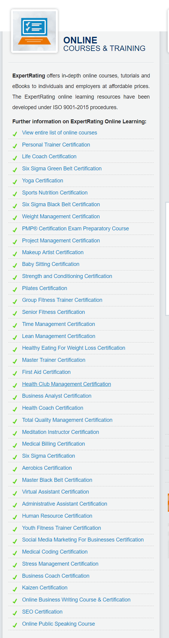 ExpertRating Courses Review- Courses Available