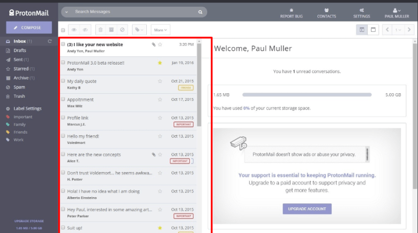 ProtonMail Review- Inbox