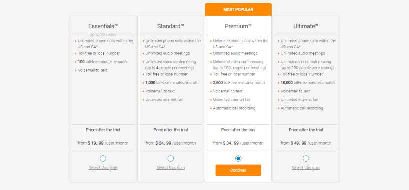 Saleshandy Alternatives - ringcentral pricing