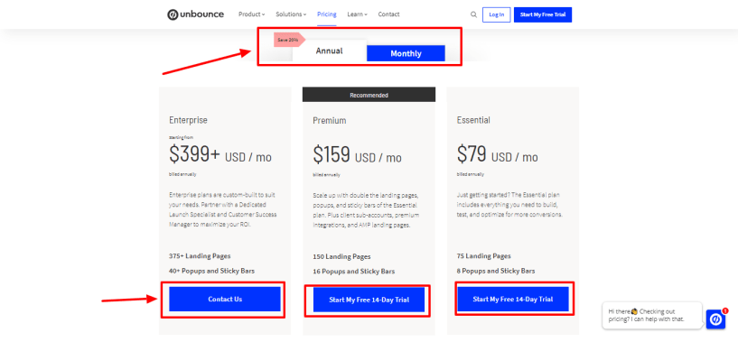 Unbounce Vs Leadpages - unbounce pricing