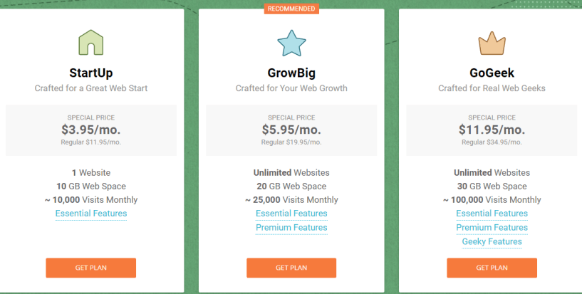 Pressable vs BlueHost vs SiteGround Comparison Review - SiteGround Pricing Plan