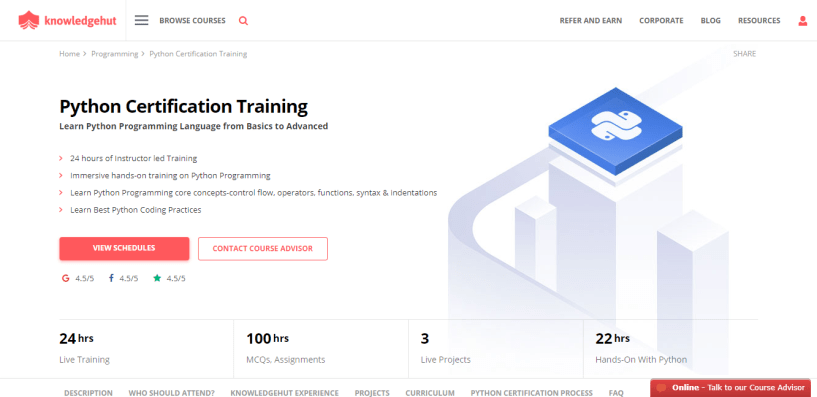 KnowledgeHut Review - Python Certification 100 Hrs of Assignments 3 Live Projects