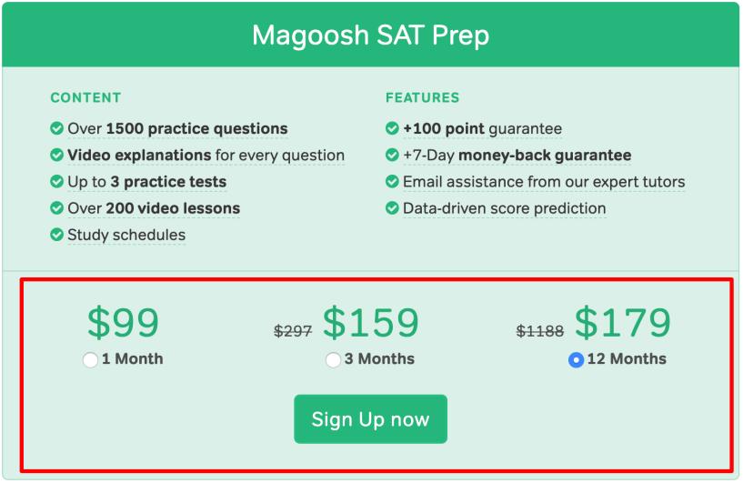 Magoosh SAT Plans- Pricing