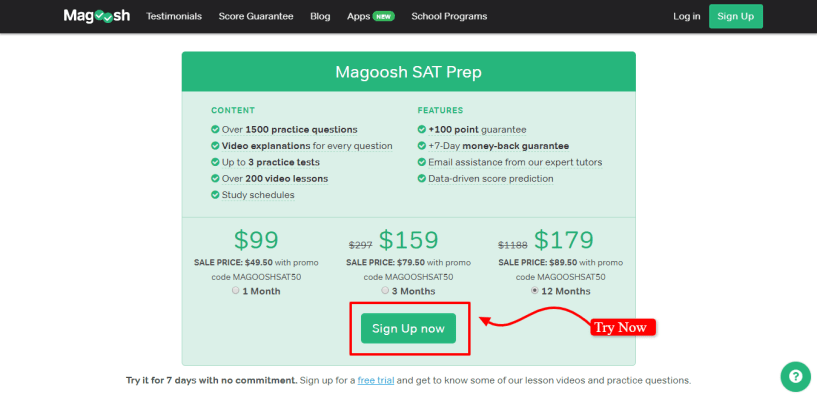 Online Test Prep Magoosh Free Test