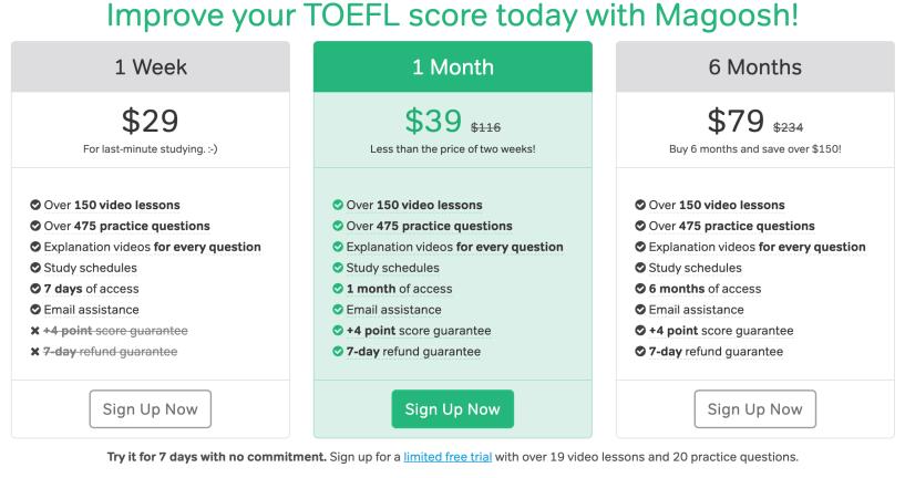Magoosh TOEFL Pricing