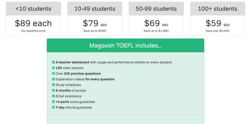 TOEFL Bulk Pricing
