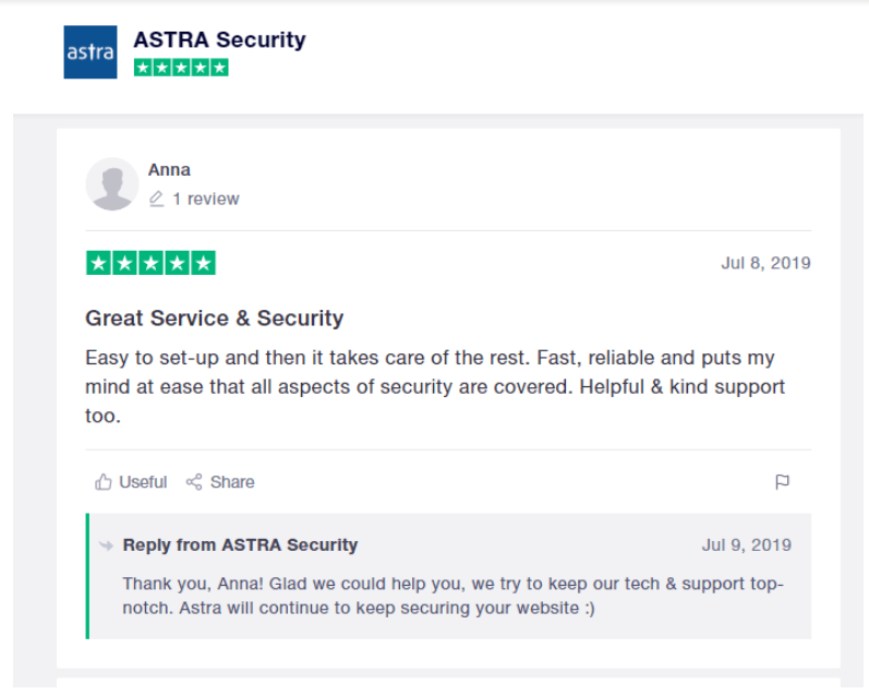 Astra vs Sucuri Comparision Review- Astra Customer Support