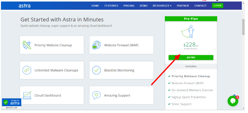 Astra vs WordFence Comparison Review - Pricing Plan Astra
